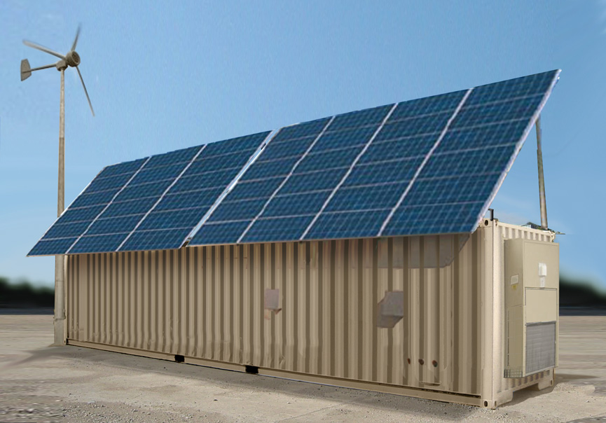 Containers with Roof mounted solar panels